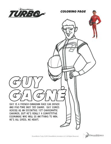 Turbo Printable Coloring Page Guy Gagne