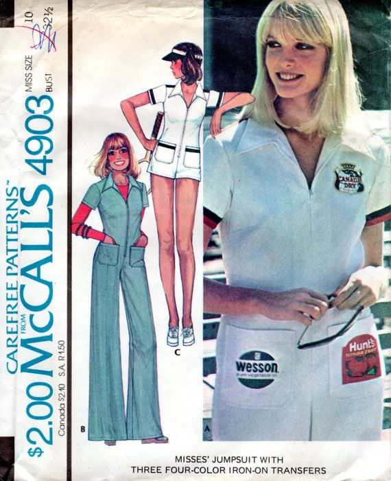 1970s Race Car Driver Jumpsuit Pattern  Vintage by ErikawithaK