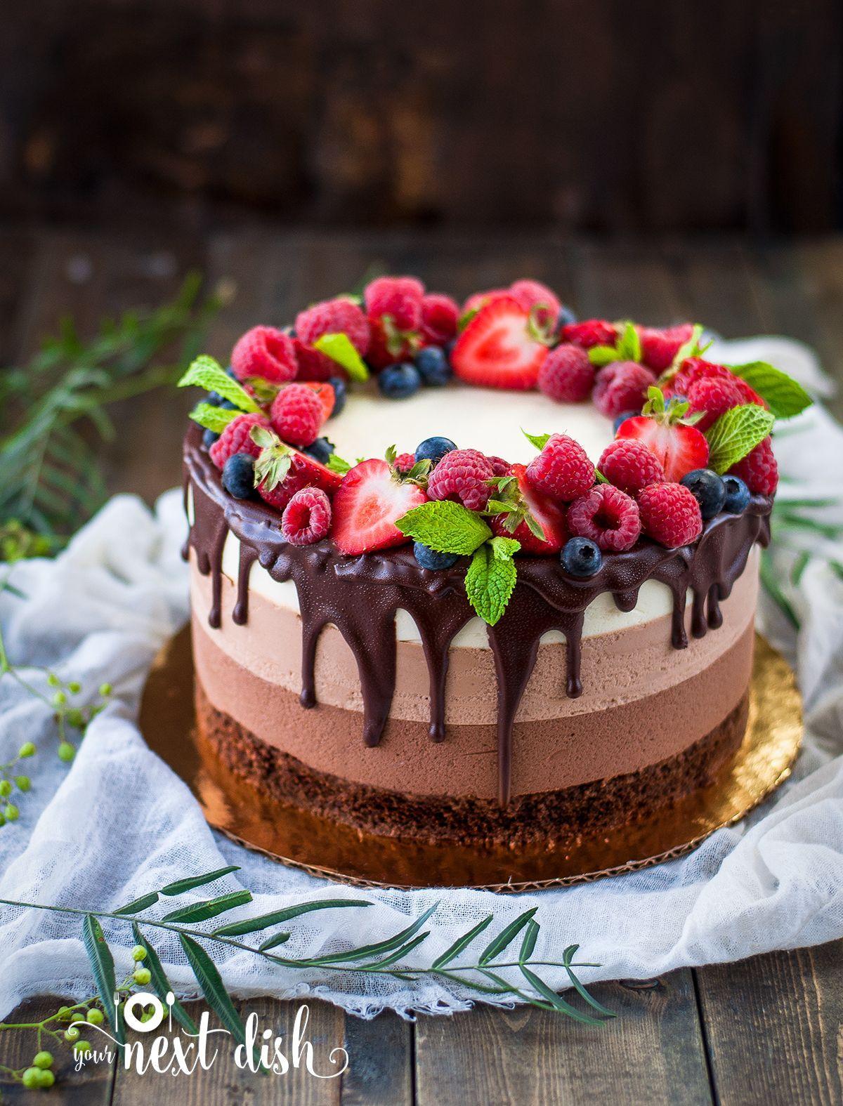 Super Triple Chocolate Mousse Cake By Yournextdish Triple Chocolate Birthday Cards Printable Giouspongecafe Filternl