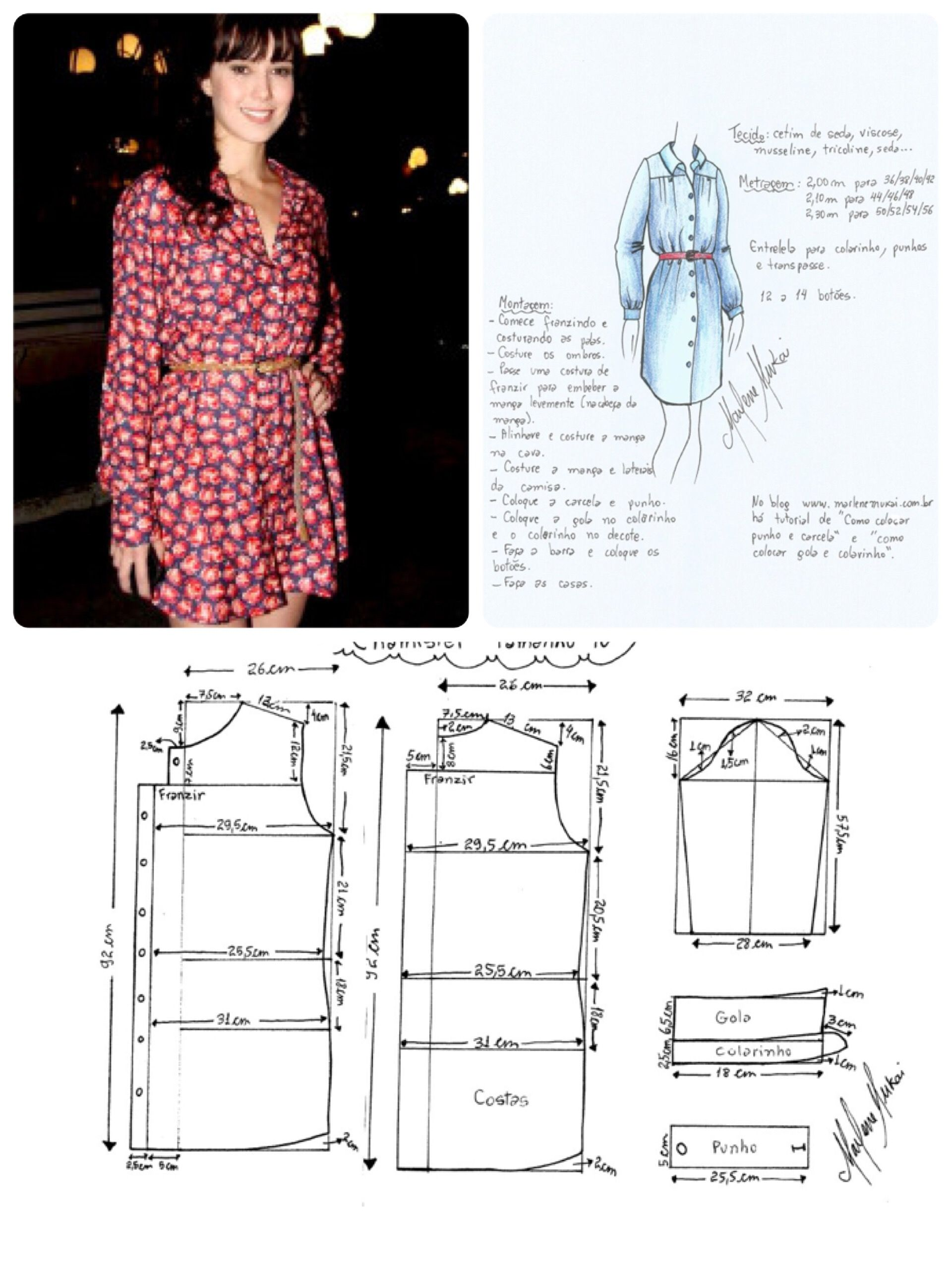 Dress pattern | Patrones de costura | Pinterest | Molde, Costura y ...