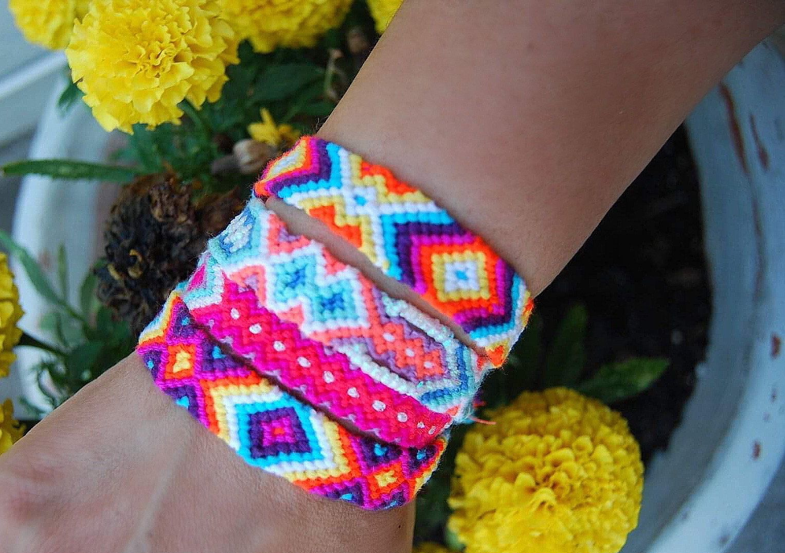 Neon Pink Friendship Bracelet Wayuu Wish