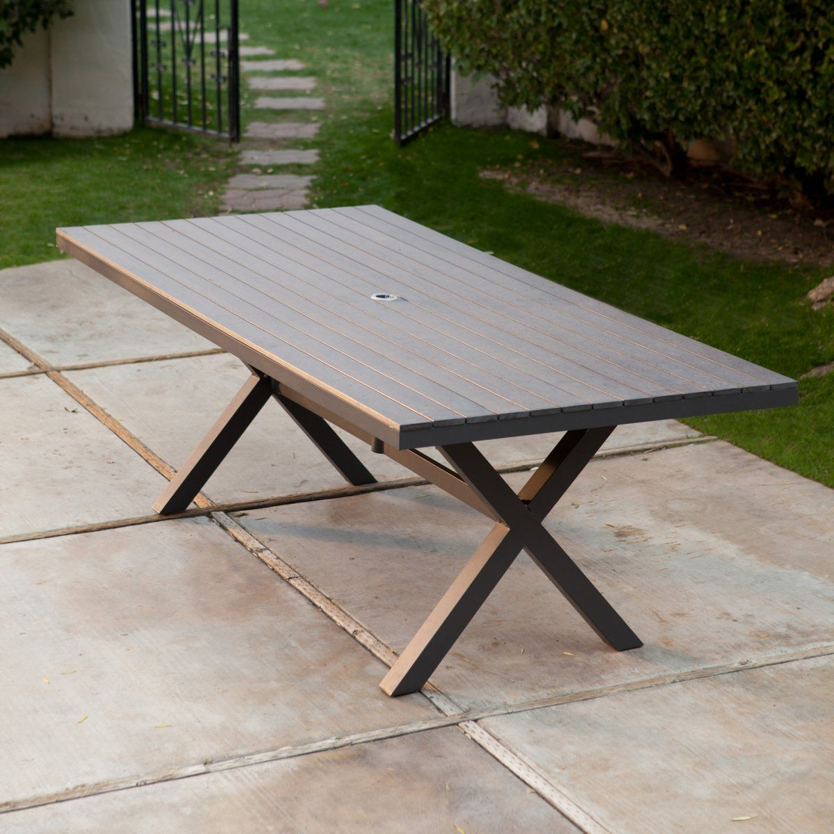 Bella All Weather Resin Patio Dining Table Tables At Hayneedle