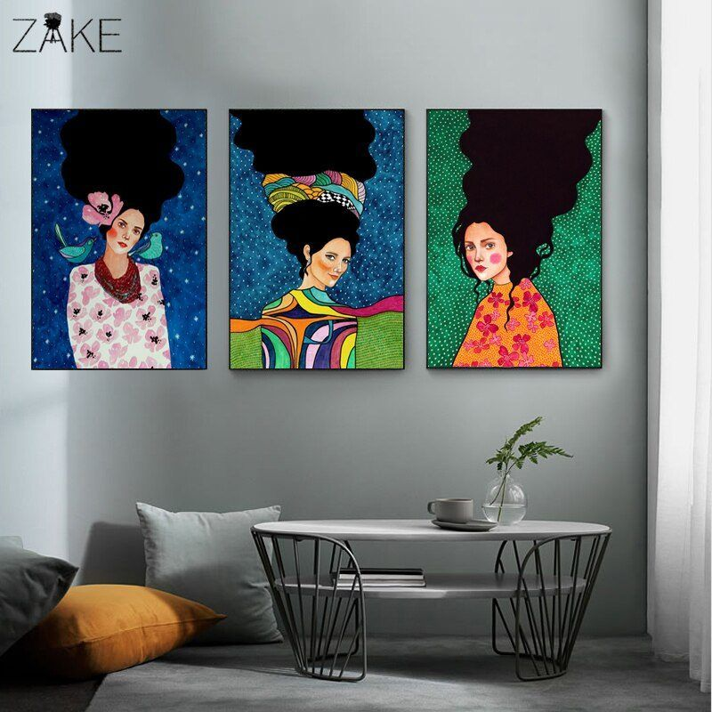 Nordic Modern Style Handdraw Characters Colorful Canvas Painting Poster Print Decor Wall Art Pictures For Living Room Bedroom Wall Art Canvas Painting Colorful Canvas Paintings Girls Wall Art