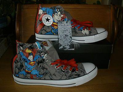 e8a073ef43c2 CONVERSE ALL STAR SUPERMAN Mens 10 DC Comics Retro CHUCK TAYLOR HI HIGH  TOPS NEW