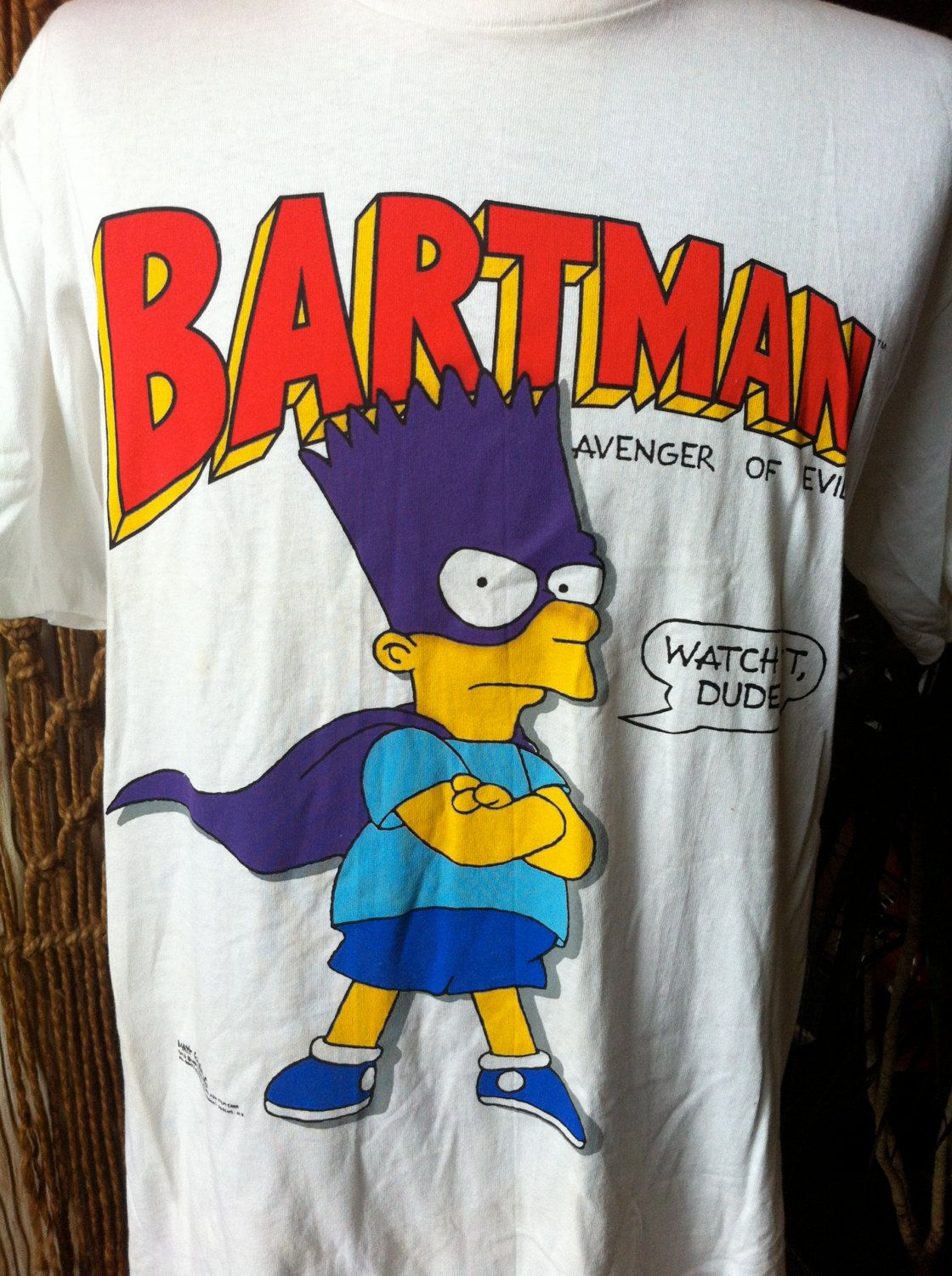 7454f051e97 Vintage Bartman Avenger of Evil Bart Simpson XL T-Shirt 1989 Matt Groening  The Simpsons by theplunderdome on Etsy