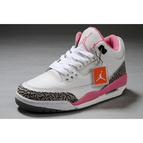 5d43d3d7304677 Women Air Jordan 3 Retro White Pink Cement Grey ( 71) ❤ liked on Polyvore
