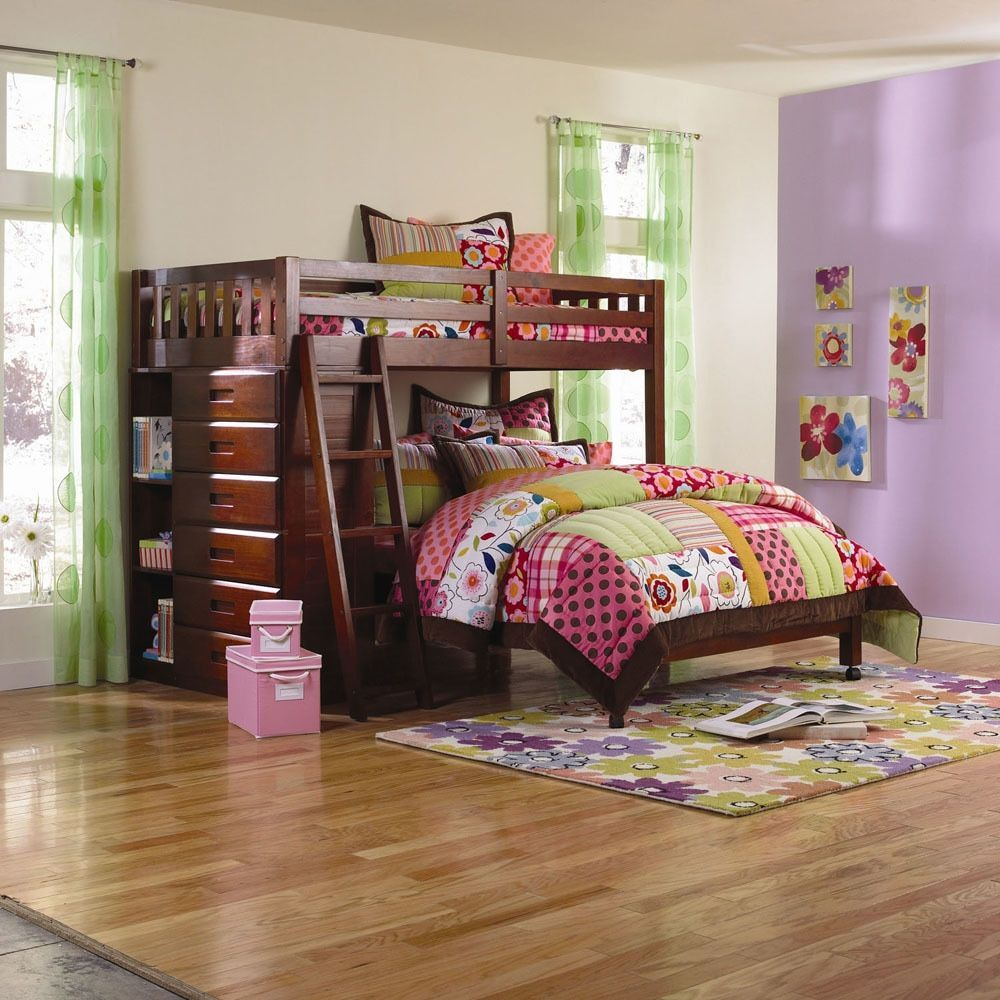 Bunk bed loft ideas  Cambridge Chandler TwinoverFull LShaped Bookshelf Storage Bunk