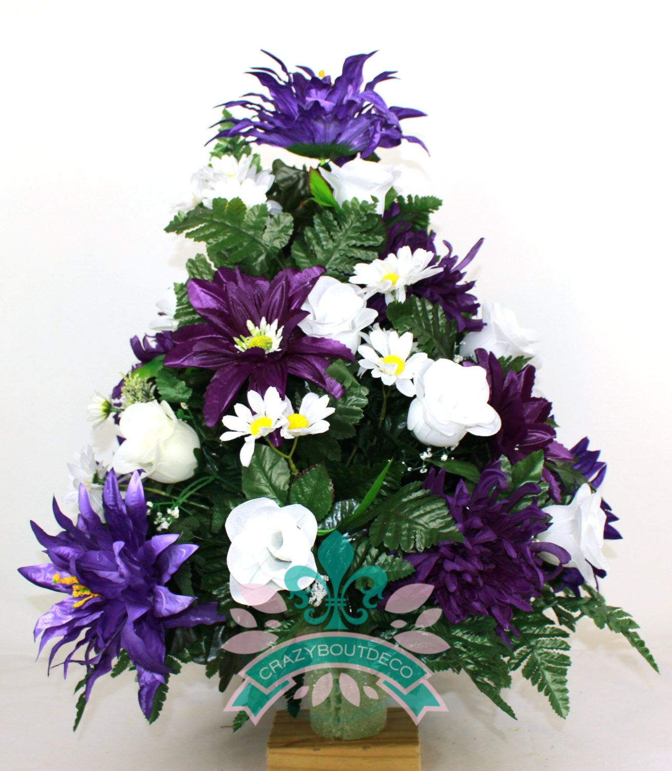 Xl beautiful purple daisies spring cemetery flower arrangement for xl beautiful purple daisies spring cemetery flower arrangement for a 3 inch vase by crazyboutdeco on reviewsmspy
