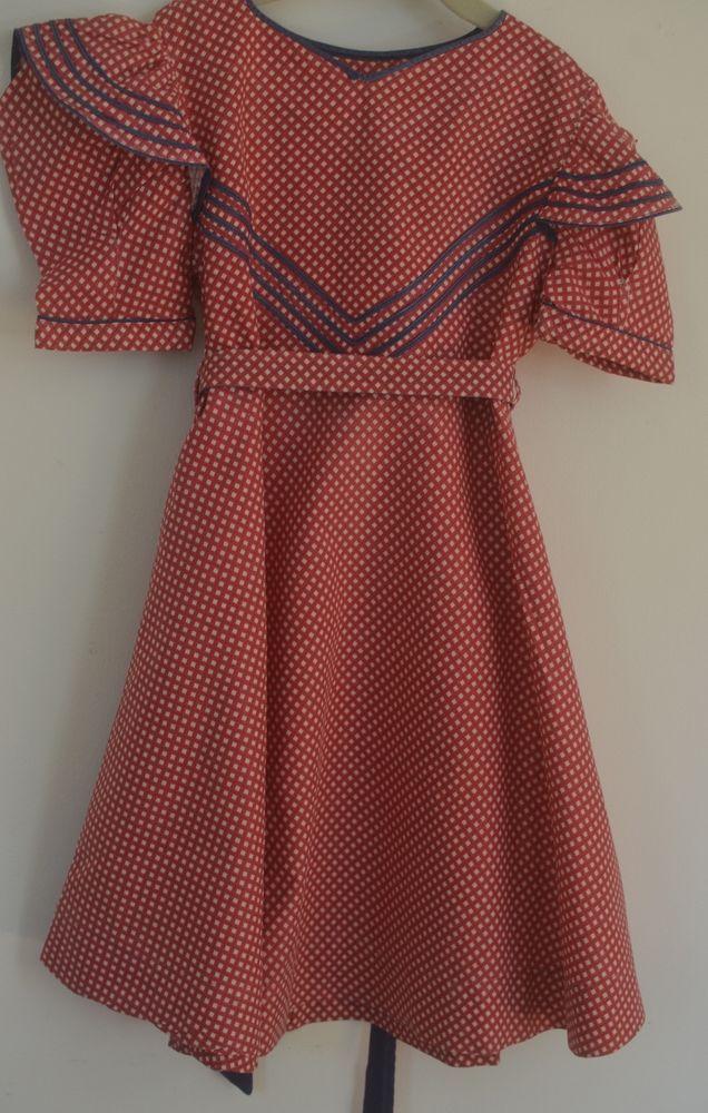 "c1a6105a84b DELIGHTFUL VINTAGE 1950S GIRL S DRESS ""Kate Greenaway Frock"" RED WHITE    BLUE SS  KateGreenawayFrock"