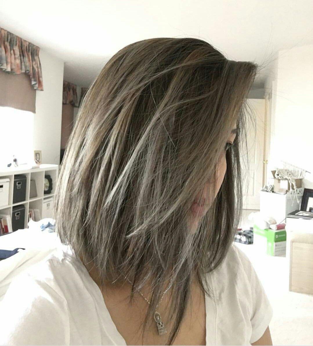Short Balayage Grey Hair Hair Styles Ash Brown Hair Color Hair Color Asian