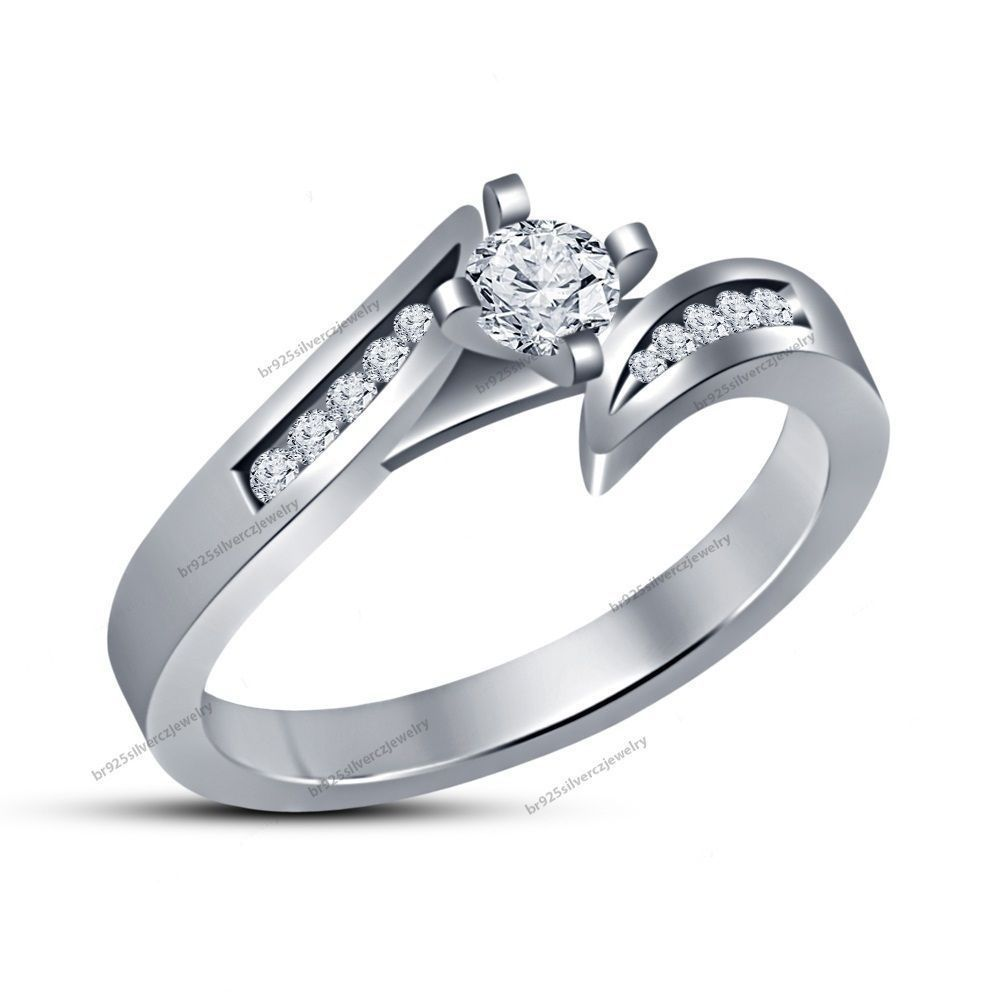 Wedding Collection For Women's Of 0.60CTW D/VVS1 Diamond White Gold Bypass Ring…