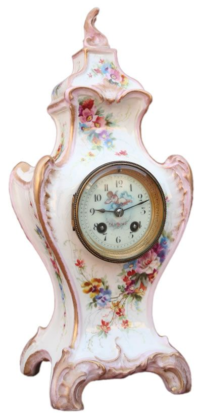 Antique Royal Bonn Porcelain Mantle Clock By Bailey Banks And Biddle French Ca 1880 Orologio