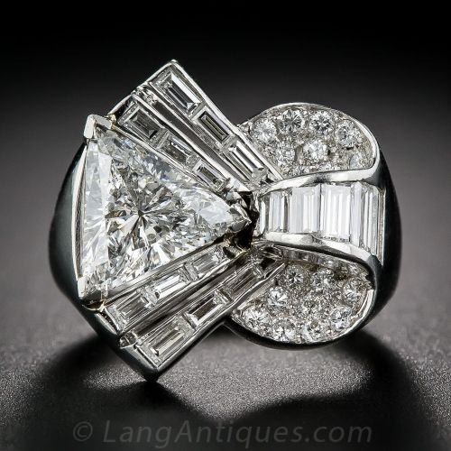 Deco/Retro Platinum and Diamond Cocktail Ring