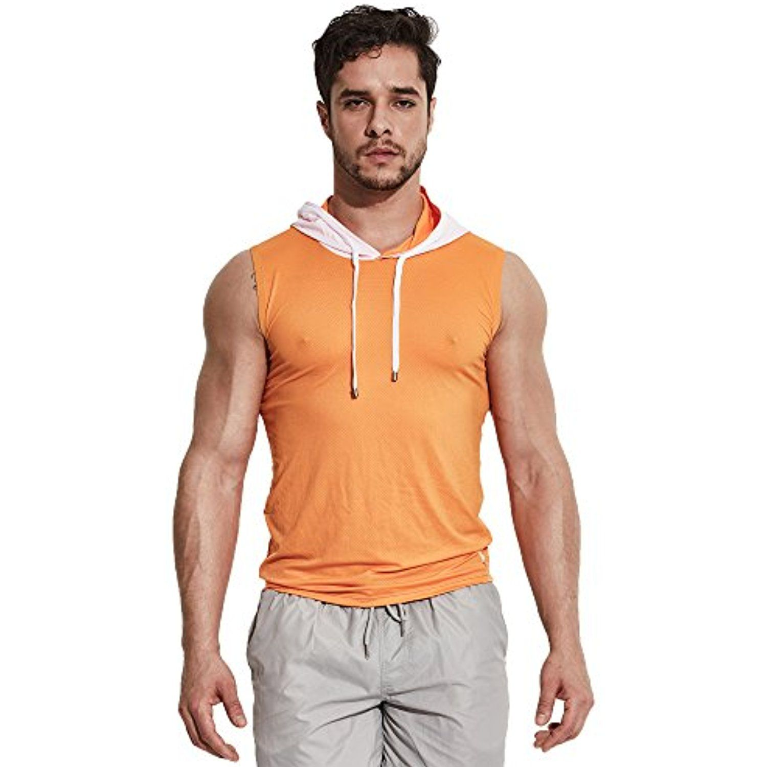 Cadmus Men's Sports Mesh Tank Top With Hooded Running