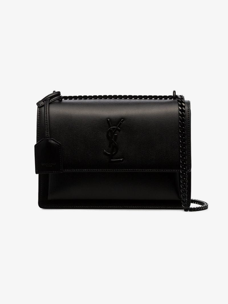 2d67abd3938 SAINT LAURENT | Black Sunset Medium Leather Shoulder Bag | $2,980 | This  black Saint Laurent Sunset medium leather shoulder bag boasts calfskin  leather, ...