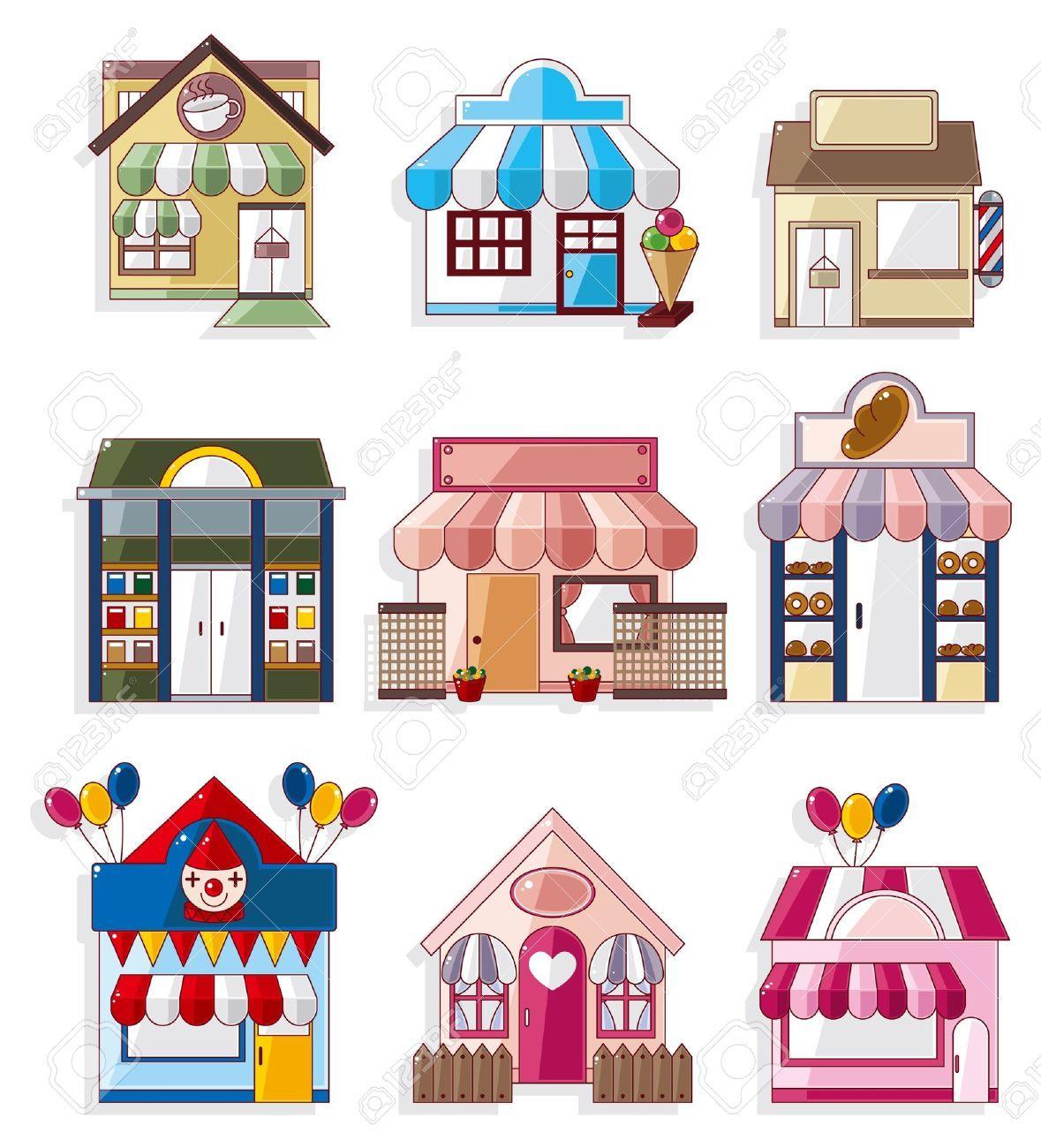 10232859-cartoon-house-shop-icons-collection-Stock-Vector.jpg (1179 ...