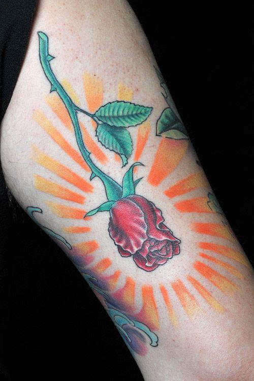 long stem rose -by Shaun Carroll of Hot Rod Tattoo in Blacksburg, VA