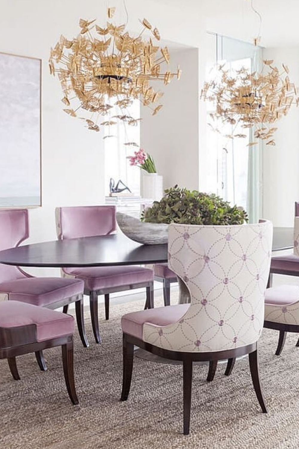 The Nymph chandelier's delicate metal butterflies hover in the air in the middle of the perfect lovely dining room harmony. Visit us for: #interior #decor #moderndecor #interiordecor #moderninteriordesign #contemporaryinteriors #besthomestyle #interiordesign #luxury #interiors #interiordesign #homedecor #diningroom