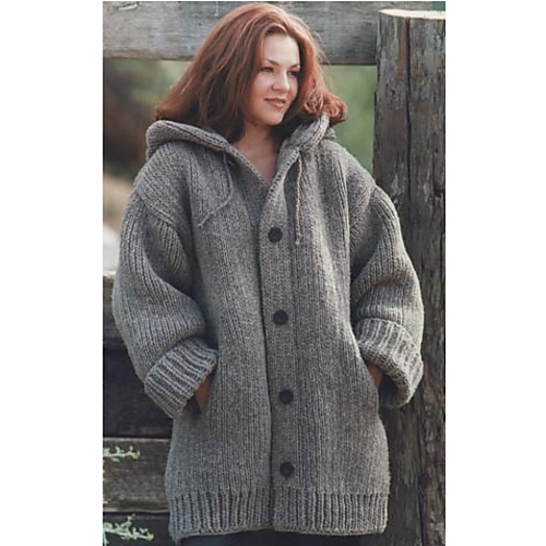 4f0b1ba9 Extra large hood, side slit pockets, dropped shoulder with straight  sleeve-knit in Stockinette for body of sweater and ribbing for cuffs and  hem.