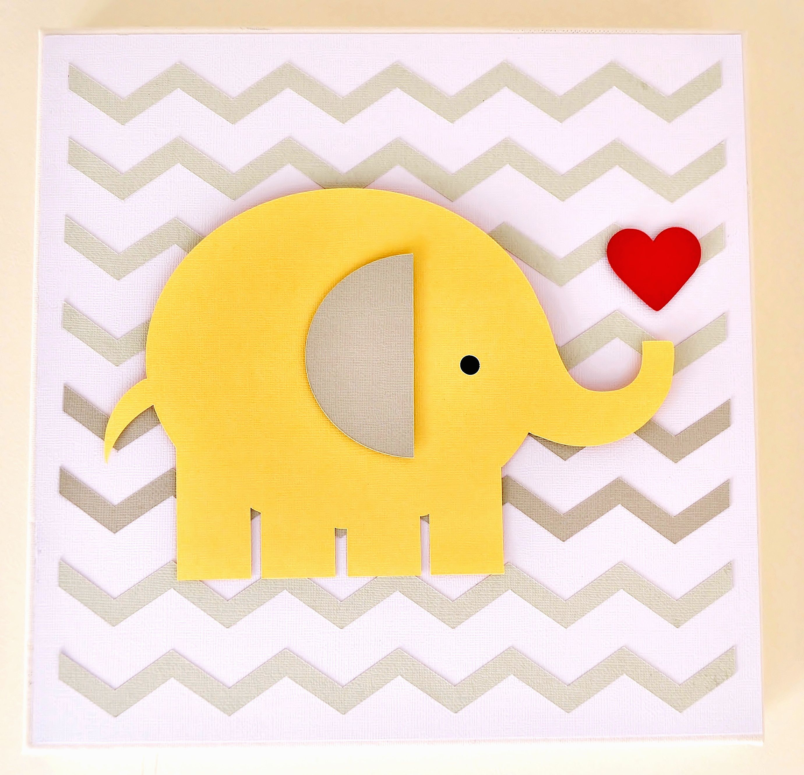 Elephant 3D Paper Wall Art Canvas, 30cm x 30cm, for a baby or girl ...