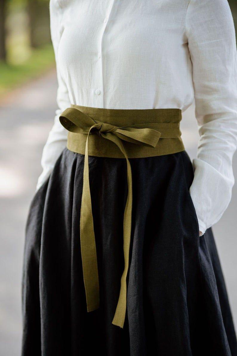 Sondeflor Linen Waist Belt, Blue Belt, Women Belt, Ribbon Belt, Linen Belt, Vintage Style, Linen Accessory, Softened Linens/Ribbon Belt