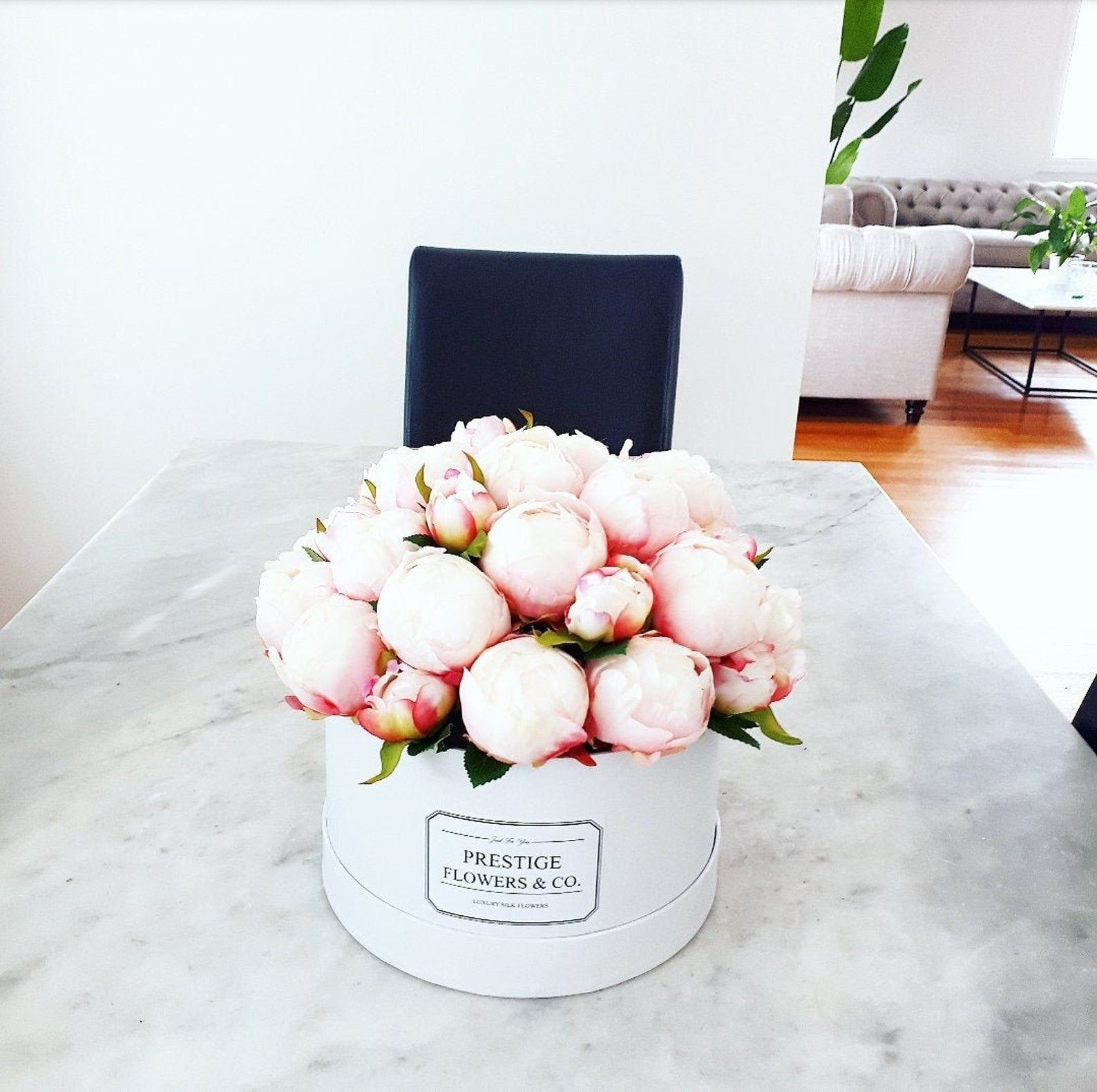 Flower Box Silk Peonies Pink Artificial Flower Arrangement Etsy In 2020 Artificial Flower Arrangements Flower Arrangements Silk Peonies