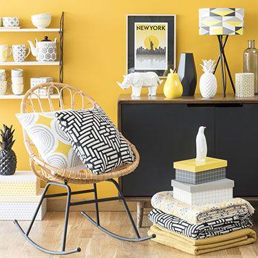 Maisons du monde inspiration scandinave peinture jaune - Chambre a coucher adulte maison du monde ...