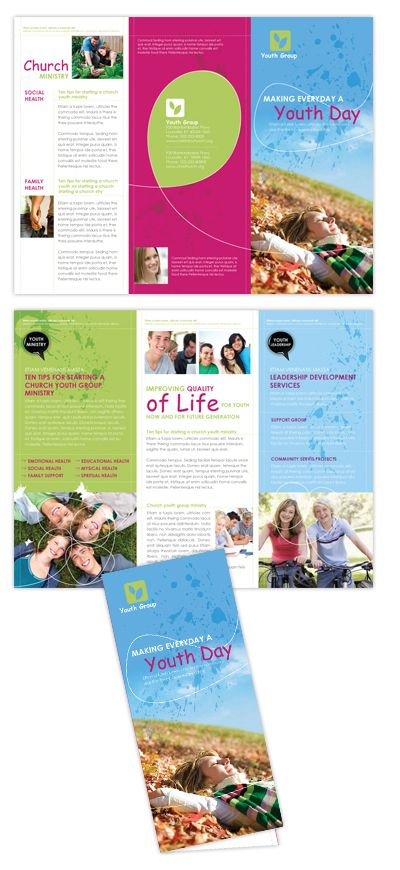 Church Ministry  Youth Group  Brochure Template Design  Graphic