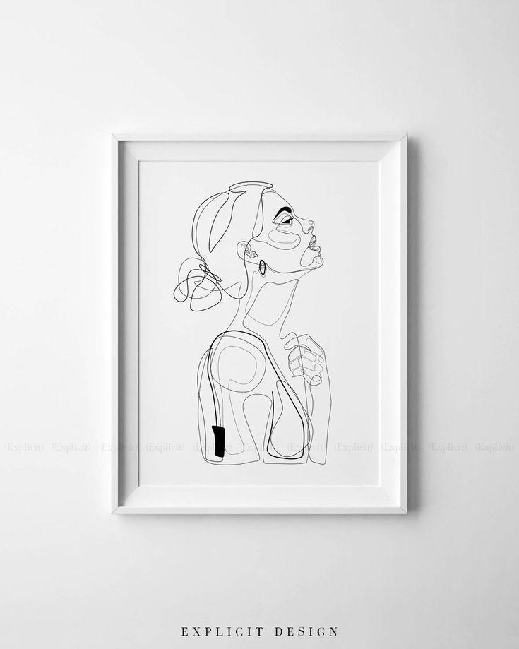 Abstrakte Linie Illustration minimales Gesicht das in Linien druckbare gelbe Mod..., #Abstra...
