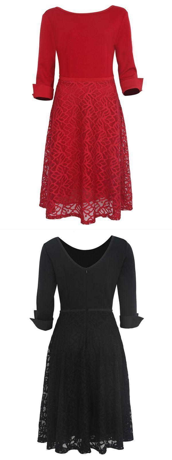 Elegant women slim backless sleeve lace patchwork party dresses