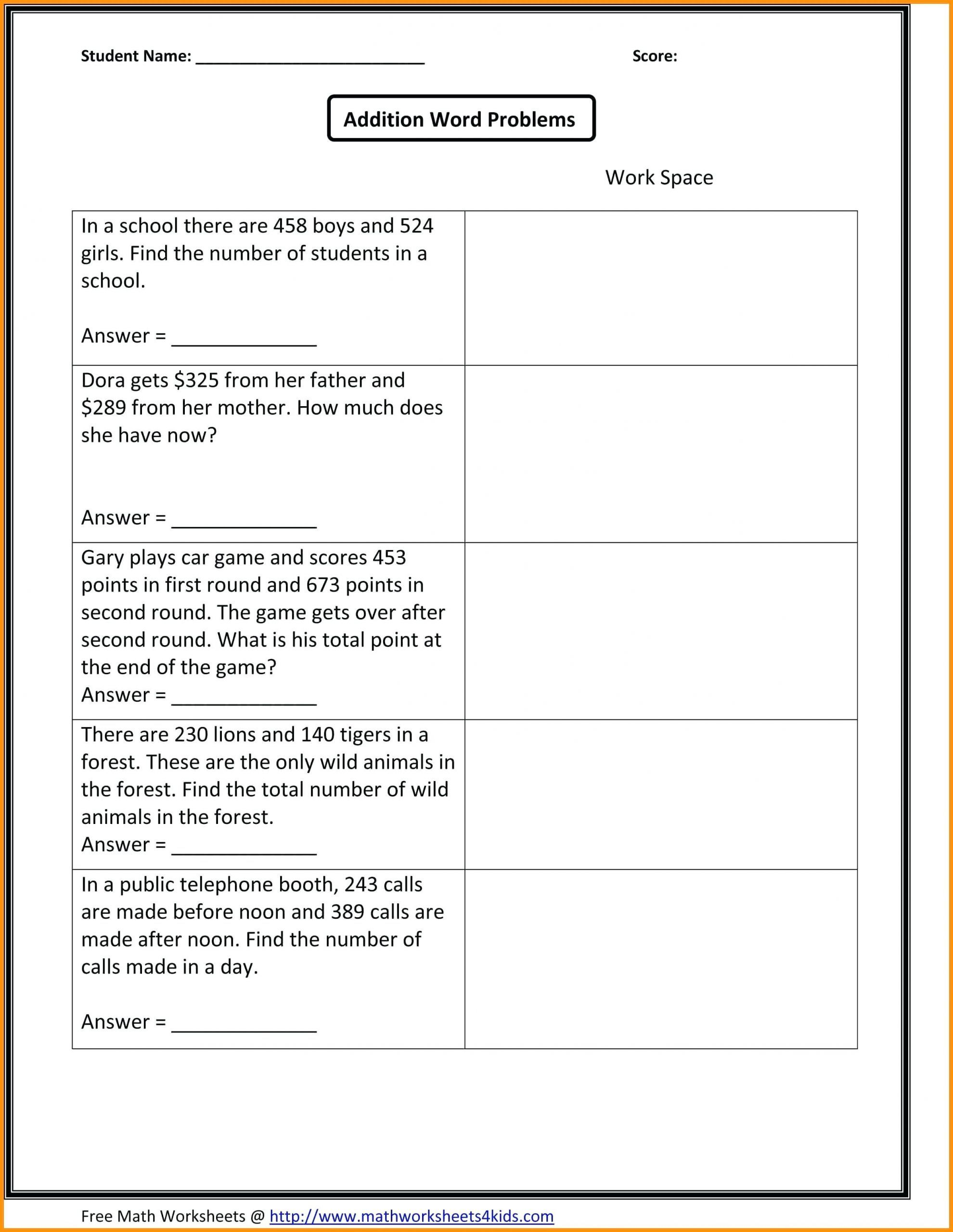 4 Free Math Worksheets Second Grade 2 Addition Adding 3