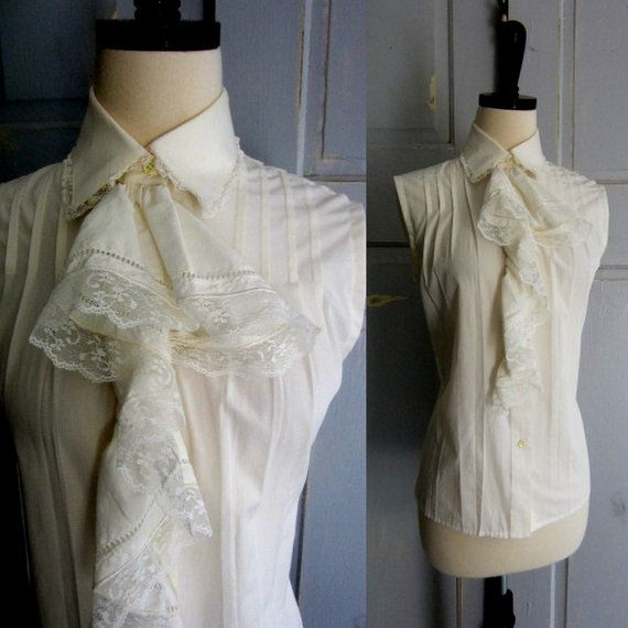 White Vintage Cotton Blouse with Ruffled Bodice $44.00