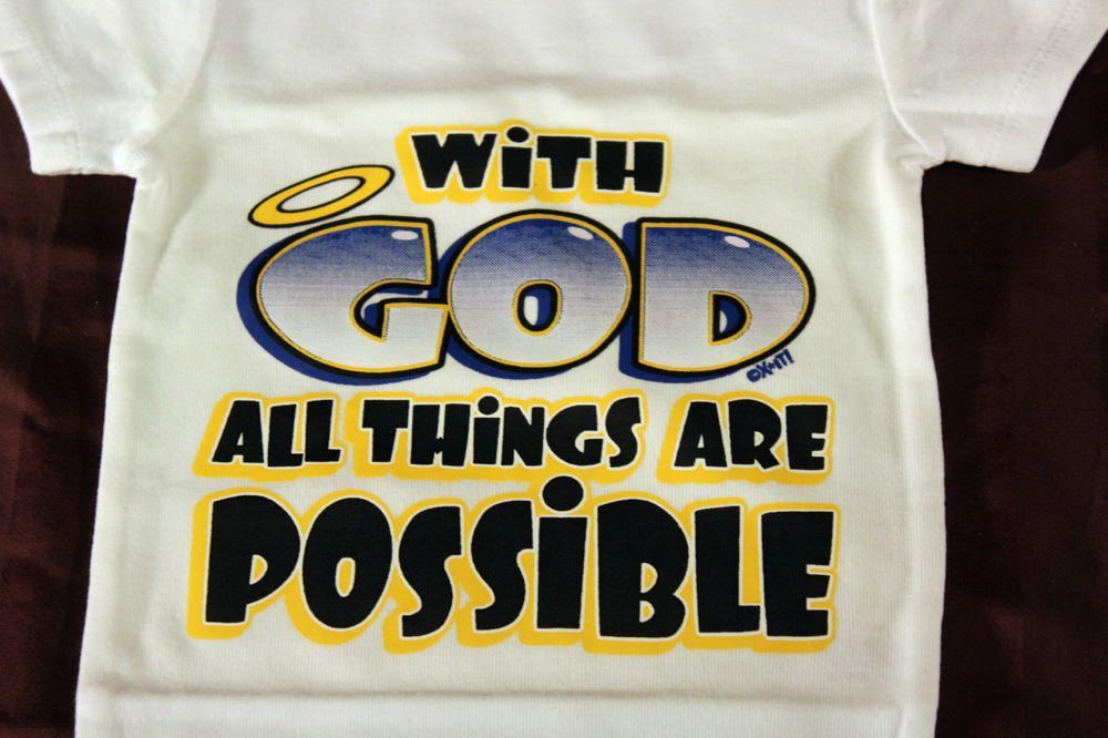 w/ GOD all things R possible christian bodysuit  12 M funny baby t-shirt tee  #carters #Everyday