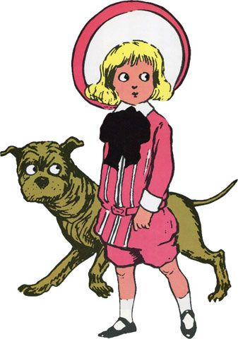 """Tige was one of the most famous fictional pit bulls at the turn of the century. As featured in Richard Felton Outcault's comic strip and later in famous advertisements for the Brown Shoe Company, Tige showed a time when pit bulls weren't regarded as tough guard dogs, but as caretaker 'nanny dogs'."""