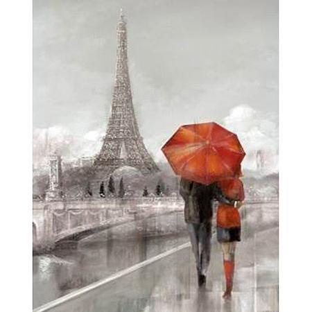 Paris Couple Talking With Red Umbrella Canvas Wall Art 15 X 19 Walmart Com Paris Wall Art Paris Canvas Paris Couple