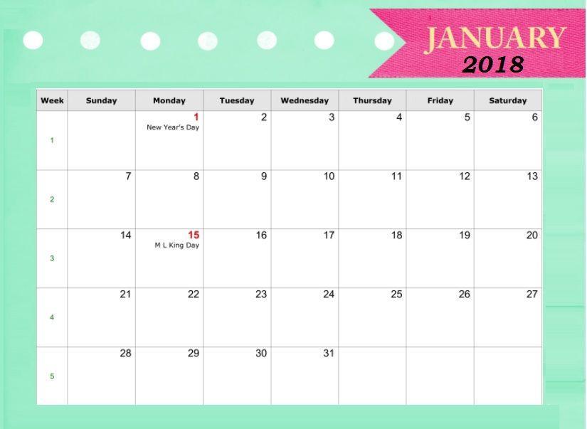2018 January Holidays Calendar Calendar2018 Pinterest Calendar - daily calendar printable