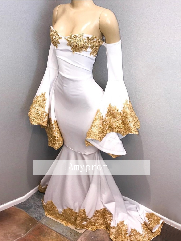 trumpetmermaid prom dresses with applique white long prom