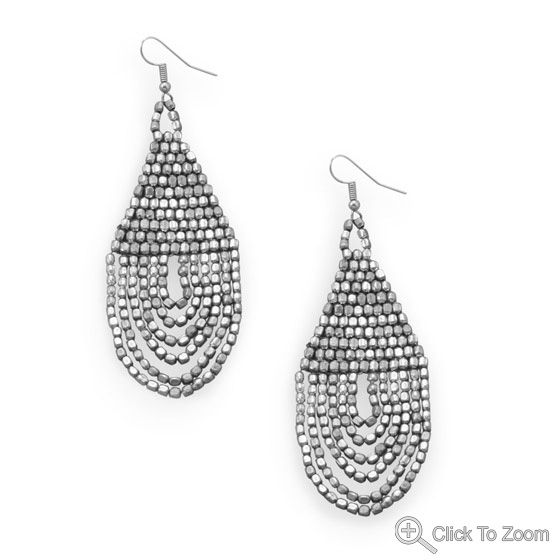 Wholesale Sterling Silver Jewelry | Silver Stars Collection Silver Tone Beaded Drop Fashion Earrings
