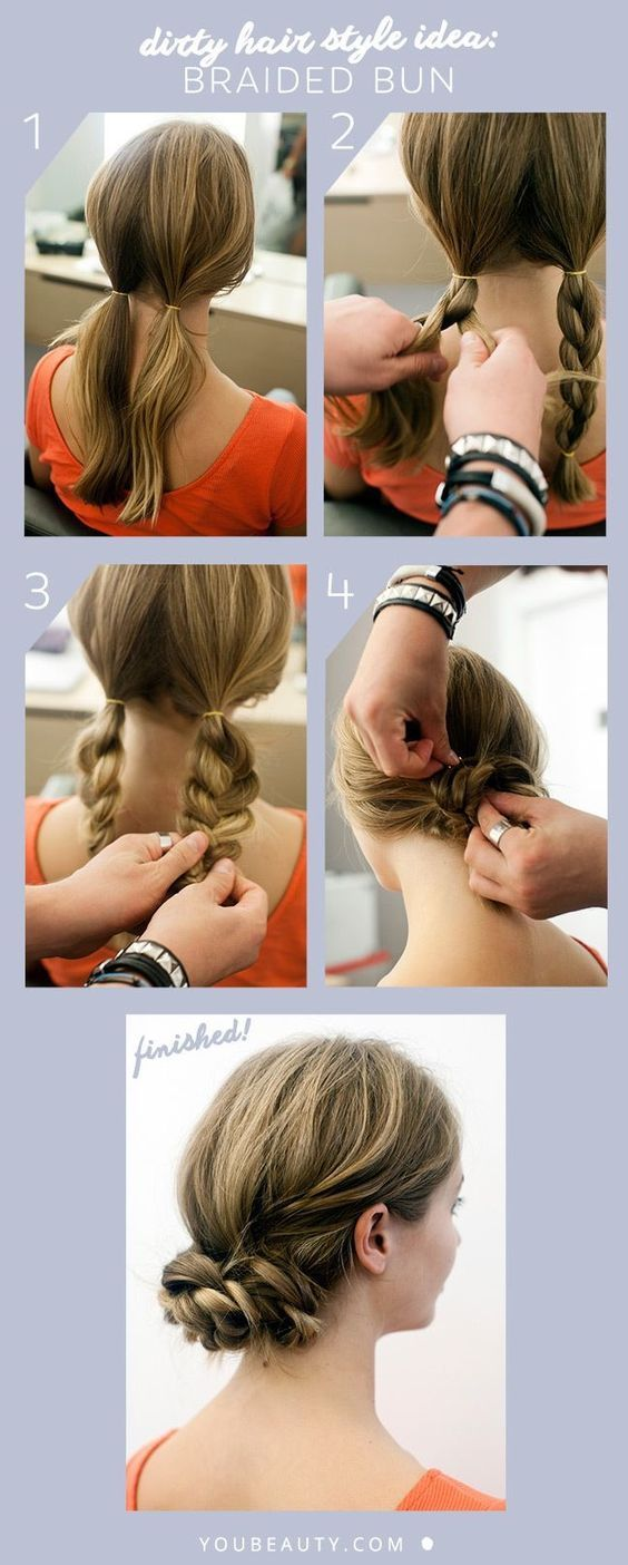 Dirty Hair Style Idea: Braided Bun #braidedbuns