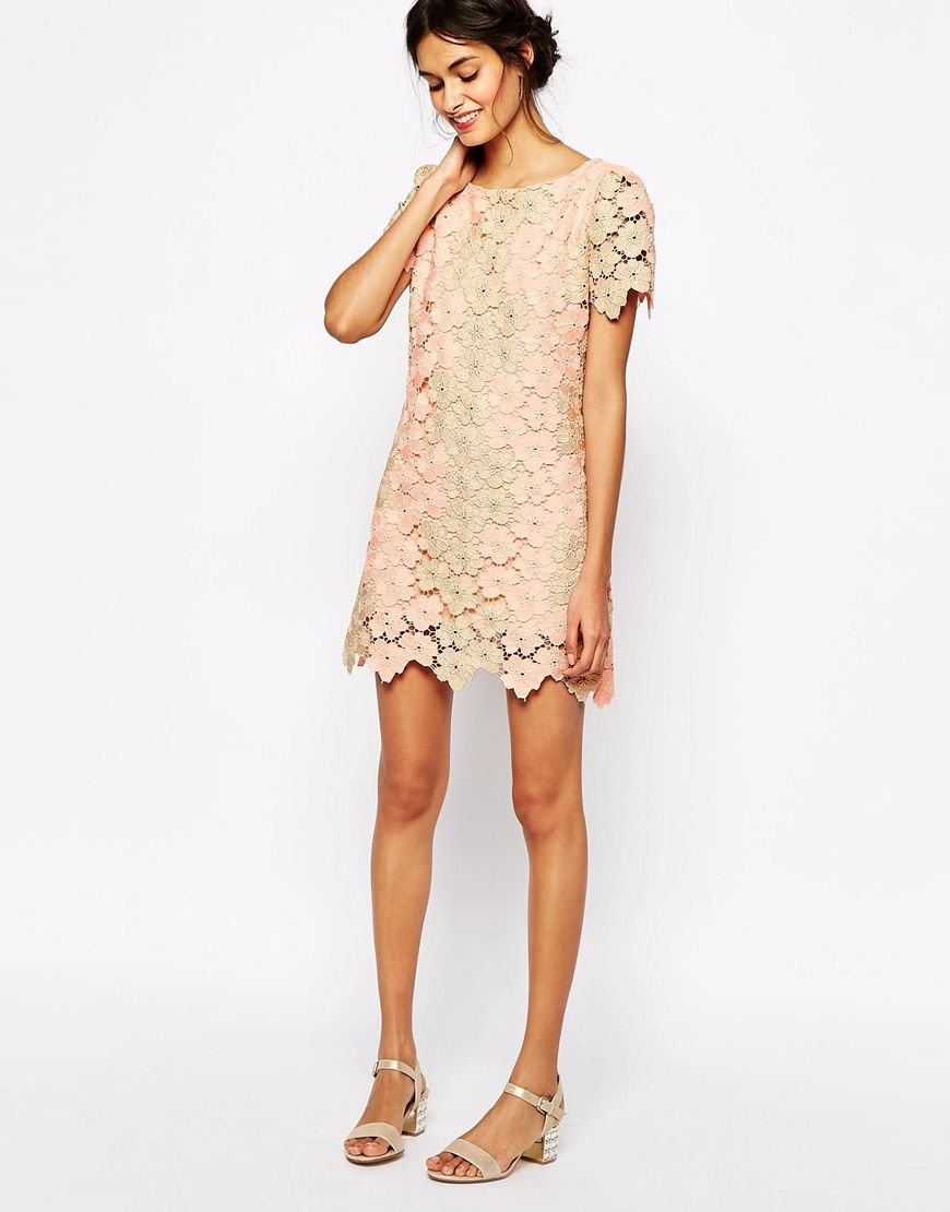 Metallic lace shift dress