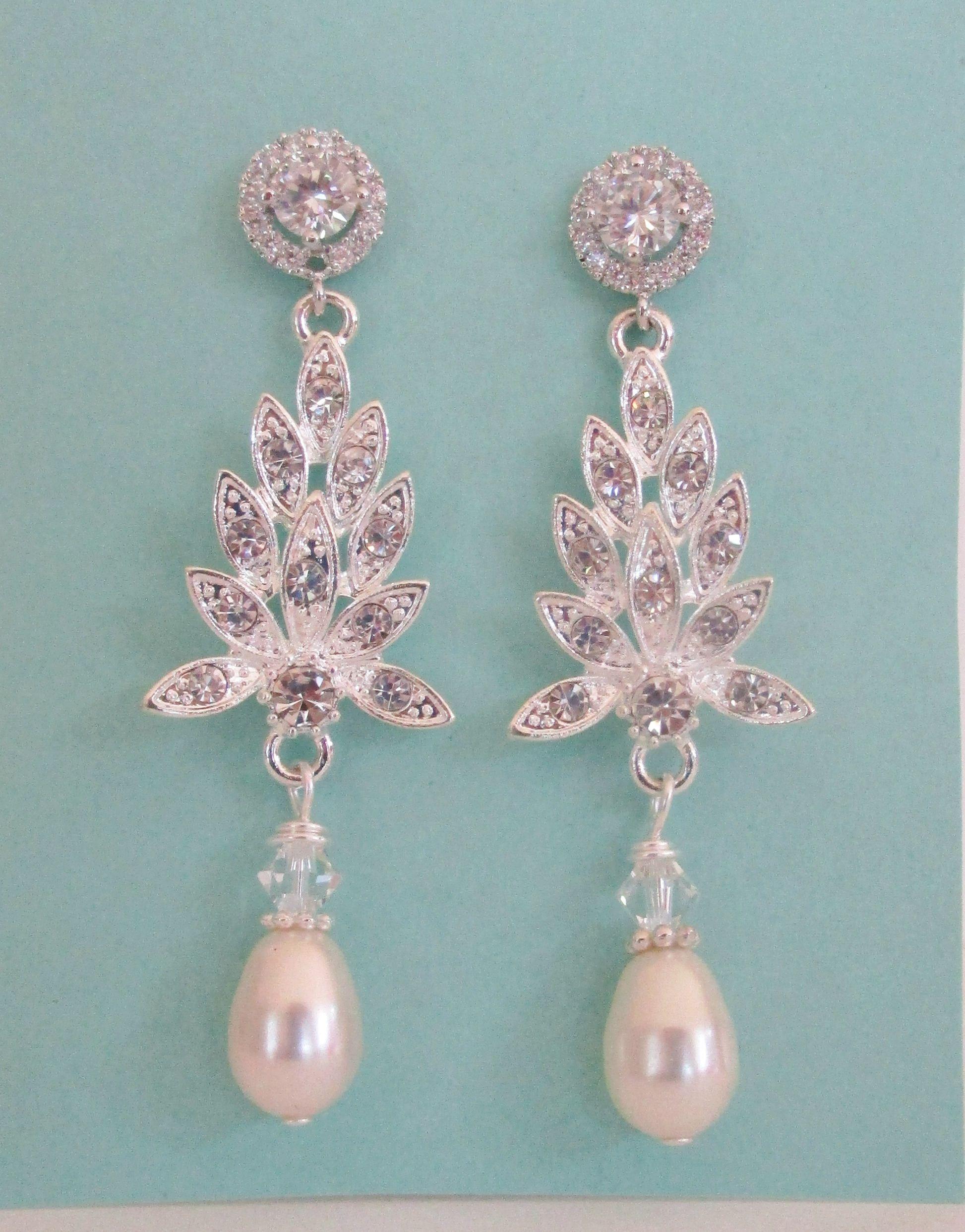 Chandelier bridal earrings pearl earrings cubic zirconia bridal chandelier bridal earrings pearl earrings cubic zirconia bridal earrings chandelier earrings long arubaitofo Images