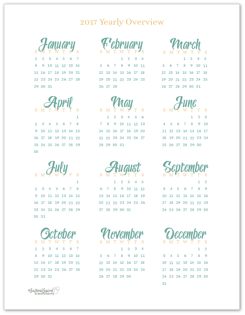 2017 Yearly Calendar Printables are Here printables Pinterest