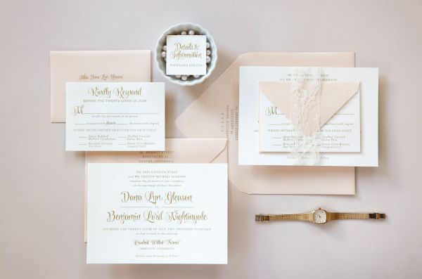 Oh So Beautiful Paper: Dana + Ben's Whimsical Gold Engraved Wedding Invitations