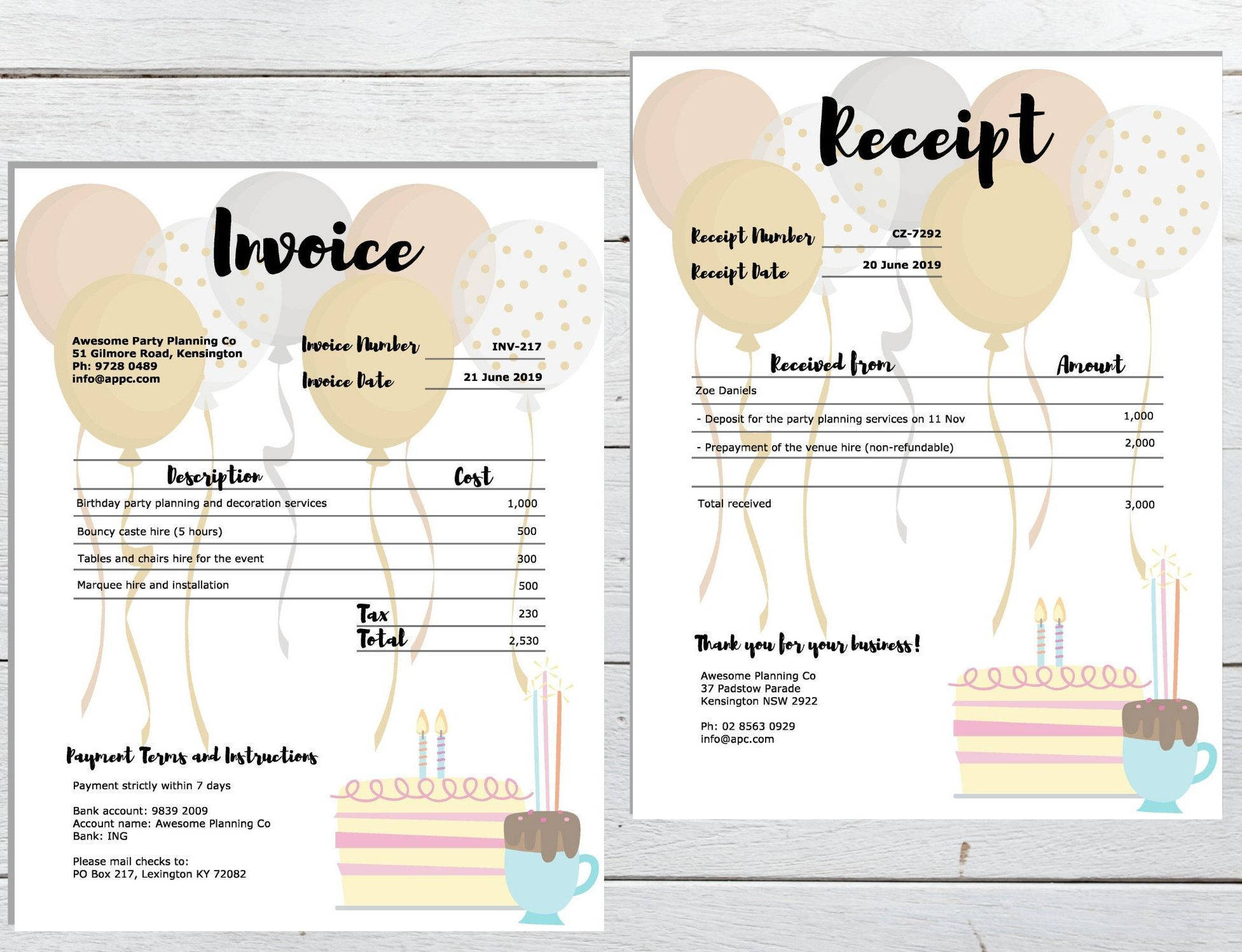 Excited To Share This Item From My Etsy Shop Invoice Receipt Template Pack Editable Pdf Download Receipt Template Printable Day Planner Party Planning