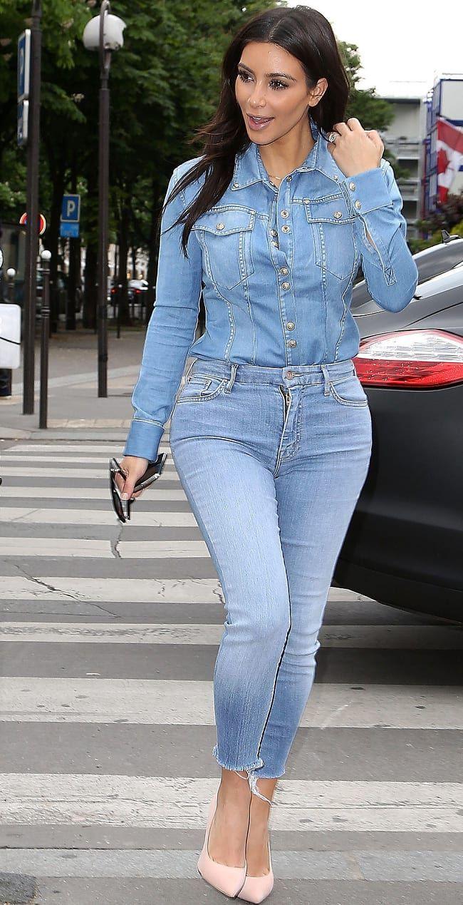 475bb0b7d4 Show Off Booty As Kim Kardashian By Wearing Cropped Denim Jeans On Denim  Shirt