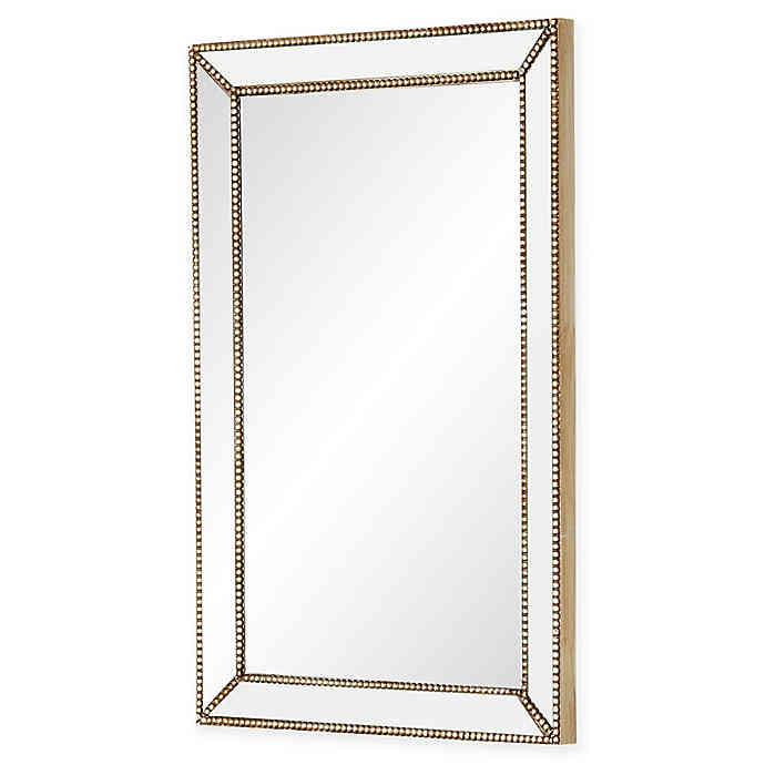 Abbyson Living Cosmo Rectangular Wall Mirror In Silver Gold Bed