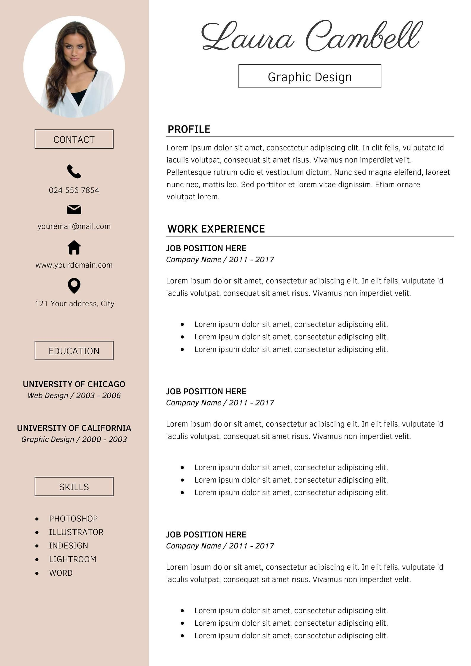 Modern Resume Template | CV Template for MS Word | Professional Resume Design | Resume Cover Letter | Resume Instant Download