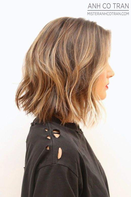 Le Fashion Blog Haircut Inspiration The Perfect Wavy Bob Via Mister Anh Co Tran Right Side Texturized Beach Waves Highlights Balayage Bright...