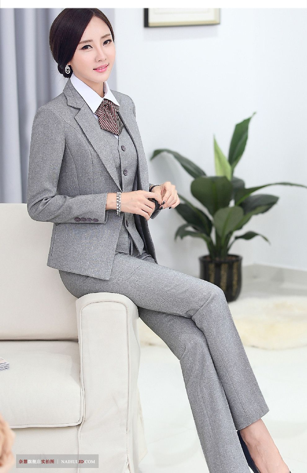 Jacket+pants+vest Black Plaid Womens Business Suits Design Slim Fit Office Uniform Style Female Trouser Suits 3 Piece Set Suits & Sets