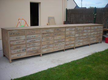 Meuble de m tier multi tiroirs relooking bois atelier meuble pochoir industri - Pochoir style industriel ...